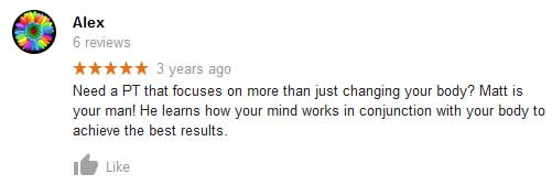 Alex's review talking about how Matt learns how your mind works to achieve great training results.