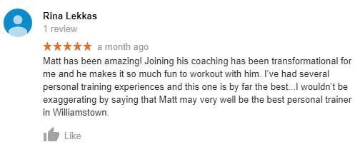 Rina Lekkas Google review about how much she enjoyed her fitness training sessions.