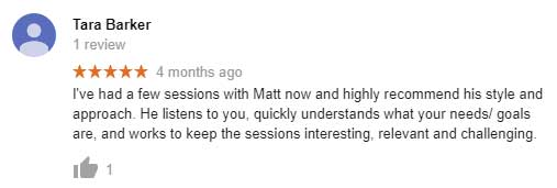 Tara Baker's google review mentioning how Matt makes his gym training sessions interesting.