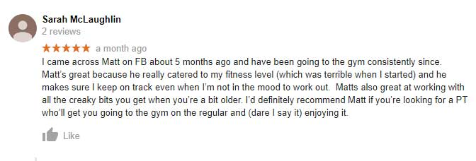 Sara's google review in response to Matt's fitness training.