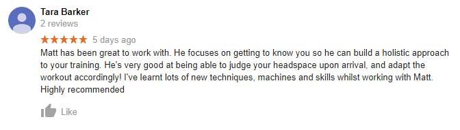 Tara's google review regarding Matt's gym training sessions.