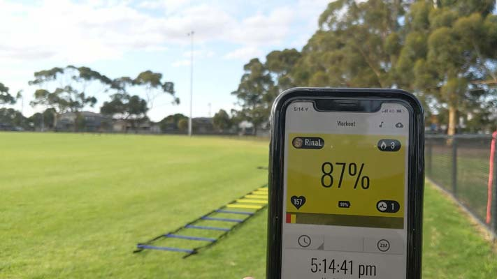 South melbourne trainer with heart rate monitor for scientific training.