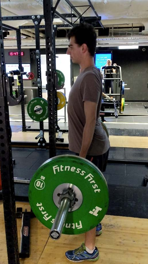 Lifting heavy with correct posture.