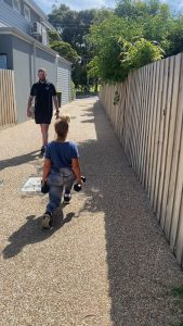 The walking lunge just outside Fortify Fitness's wiiliamstown north personal training studio.