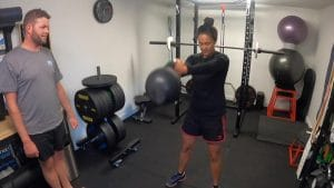 Client performing the kettlebell swing